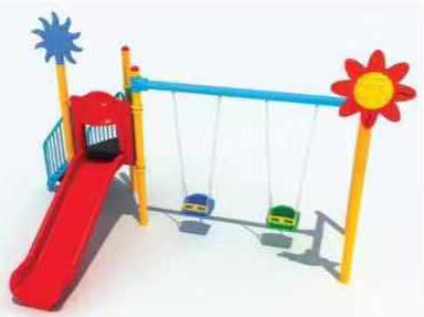 Kids outdoor playground slide with swings VS2-190723B29
